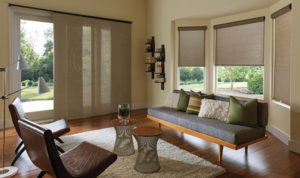 sunscreen shades with sliding panelsin living room